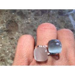 anello pietra azzurro polvere bianco luna nudo pomellato dodo oro argento rosa rosato gioiello gioielli artigianali artigiana orafa pietre silver gold ring handmade made in italy pinkiss juelery juels